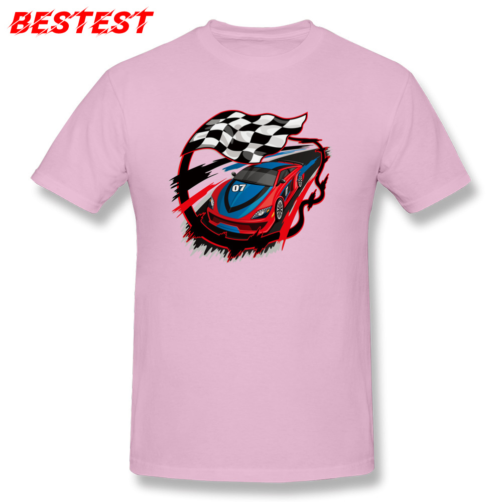 2018 auto racing checkered flag Short Sleeve T-shirts Labor Day Round Neck Cotton Fabric Tops Shirt for Men Tops Shirts Birthday auto racing checkered flag pink