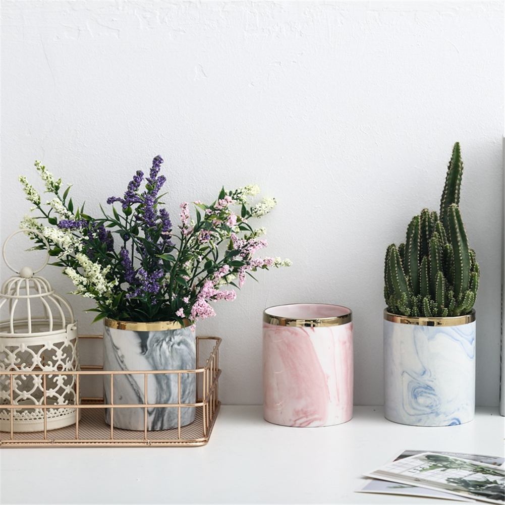 Marble Succulent Plants Flower Pot Wrought Iron Vase Ceramic Set Creative Flower Stand Home Gardening Table Decoration 2