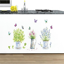 Color Butterfly Vase Wall Stickers Wholesale Living Room Decoration Background Wall Stickers Shop Glass Tiles Stickers(China)