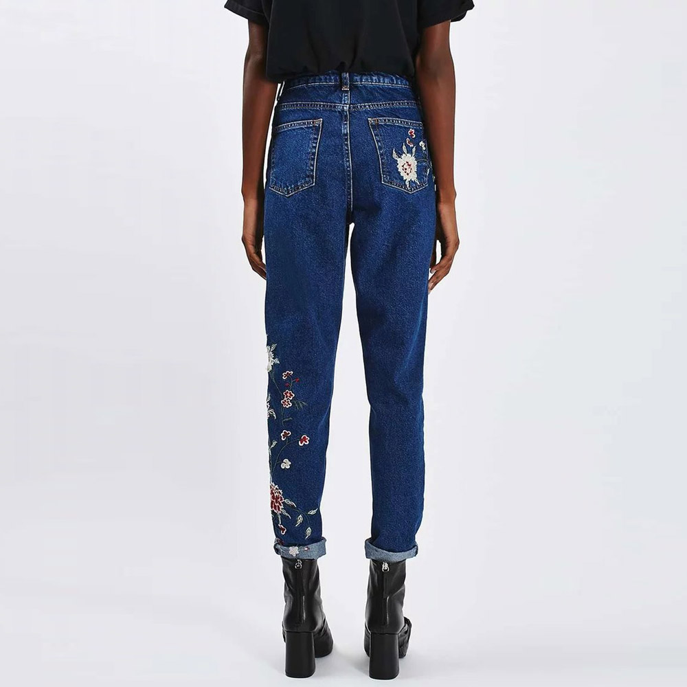 Trendy ZA Floral Embroidery Demin Skinny Jeans Pencil Pants Zipper Pocket Button Cozy Casual Women Slim Trousers femme Dark Blue