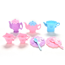 9 PCS Mini Tableware Tray Teapot Cup Spoon For Barbies Dolls Accessories Dollhouse Colorful Furniture Pretend Play Girls Gifts