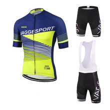 Fluorescence yellow sportswear pro team cycling wear/summer coolmax cycling clothing/comfortable men sports uniforms for bike(China)
