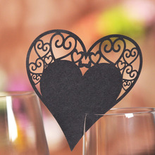 50pcs DIY Place Card Black Heart Cups Glass Wine Wedding Name Cards Laser Cut Pearlscent Paper Card Birthday Party Decoration(China)