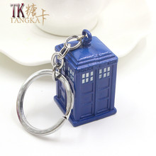 Fashion Personality trinket Movie character police box metal car keychain on a bag key ring key holder gift accessories ornament(China)