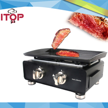 ITOP Gas BBQ Grill with Oil Collector Plancha Griddle Steak Meat Cooking Machine Enamel Plate Easy Cleaned(China)
