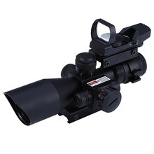 Hunting 2.5 - 10X40 Tactical Optics Riflescope Red / Green Laser Dual Illuminated Scope Mil-dot 20mm Rail Mount