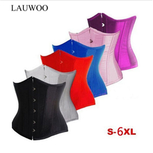 LAUWOO Sexy Gothic Basque Black Satin Corset Lace up Boned Top Underbust Bustier Red White Pink Blue Corsets Espartilho Korsett(China)