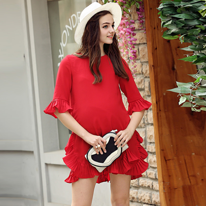 2017 summer hot fashion maternity clothes for print chiffon dresses pregnant women`s plus loose one piece dress<br><br>Aliexpress