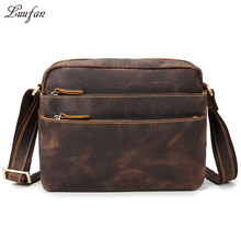 Men's Vintage genuine leather shoulder bag functional 3 zipper layer iPad cowhide messenger bag Brown Genuine leather satchels
