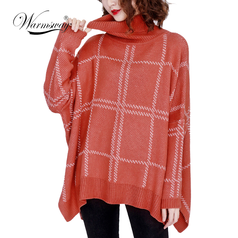 Plus SIze Women Sweater Pullovers Knitted Turtleneck Long Sleeve 2019 Winter Vintage Loose Casual Oversized Pullovers C-398