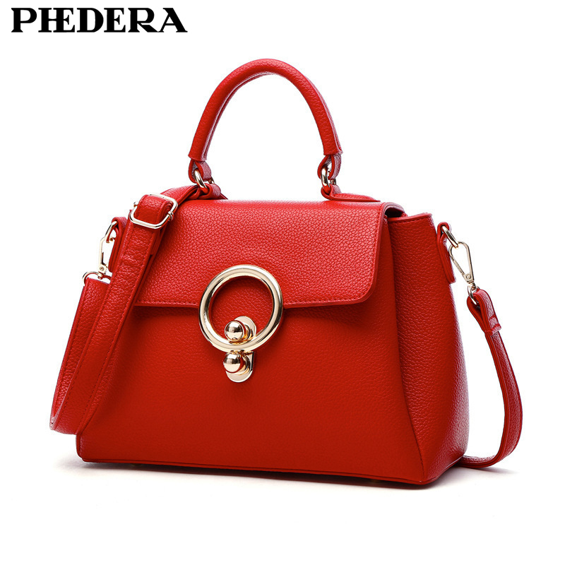2017 New Elegant Handbag for Women High Quality Split Leather Female Tote Bags Stylish Red/Black/Gray Ladies Messenger Bag<br>