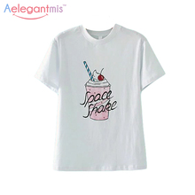 Aelegantmis Best Friend Summer Casual T-shirt Women Round Neck White Tees Tops Ladies Ice Cream Print Pure Cotton T Shirt 2017