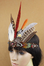 Free Shipping! Indian Style Feather Headdress Masquerade Cosplay headband Dress Prom Dance Party Headwear hair accessories(China)