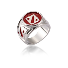 Julie 12Pcs/lot Size 8 Dota 2 Logo Silver Rings New Arrival For Dota2 Game Fans Jewelry Zinc Alloy Ring Jewelry Accessories(China)