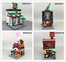 SD6014-SD6017 Mini Street scenery building block Phone Store Sports shop perfume Bricks Children Toys Gift creator city models