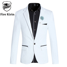 Fire Kirin White Blazer Men 2017 Stylish Korean Suit Jacket Slim Fit Men's Blazers And Suit Jackets 5XL Mens Casual Blazer Q223