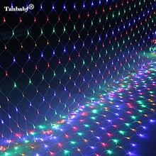 Tanbaby 1.5*1.5 M LED curtain lights with 96 leds string light with plug Christmas holidays wedding party decoration led lights(China)