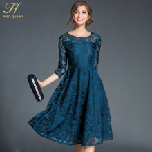 H han queen Autumn Lace Dress Work Casual Slim Fashion O-neck Sexy Hollow Out Blue Red Dresses Women A-line Vintage Vestidos(China)