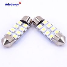 10 X 41mm 1210 8 LED Car Auto Interior 3528 SMD 8 LED Light White Festoon LED Licence Plate Lamp Bulb Dome Roof Car Light(China)