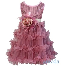 Girls Shimmer Dusty Pink Party Tutu Pettiskirt Dress with Feather Rose Sash Party Dress