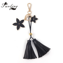 Furling 1pc Gold Color PU Leather Star Bag Key Chain Tassel Keychain Cell Phone Charms porte cle llaveros(China)