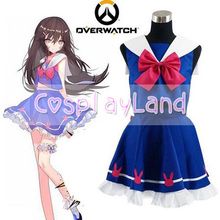 OW Hana Song D.Va Blue Sailor School Uniform Game Cosplay Costume Dress Classic Halloween Party Cosplay Costume Custom Made(China)
