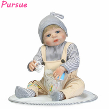 Pursue 57cm Newborn Lifelike Boy Reborn Baby Dolls Full Body Silicone Reborn Toddler Dolls Boy bebe reborn com corpo de silicone(China)