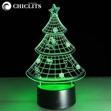 Chiclits 3D Colorful Christmas Tree Atmosphere Led Night Lights Table lamp Mood Lamp New Year's Gift Present For Kid&Baby&Child(China)