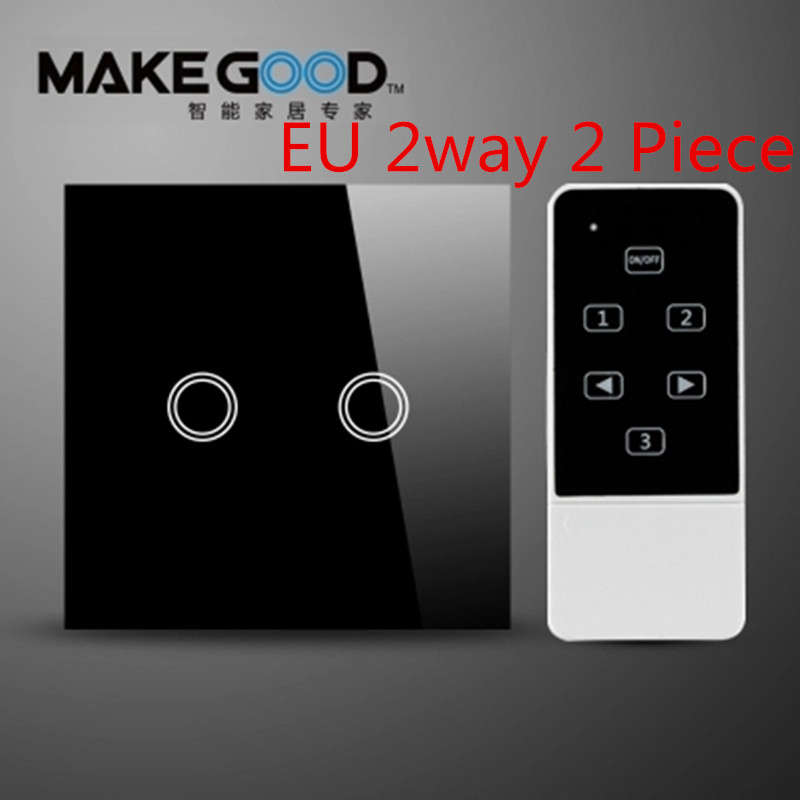 Makegood EU Standard Touch Light Switch,Glass Panel Electrical Wall Switch,2 Gang 2 Way RF433 Wireless Remote Control Switches<br><br>Aliexpress
