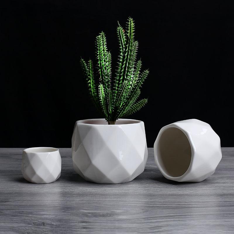 Creative Ceramic Diamond Geometric Flowerpot Simple Succulent Plant Container Green Planters Small Bonsai Pots Home Decoration1