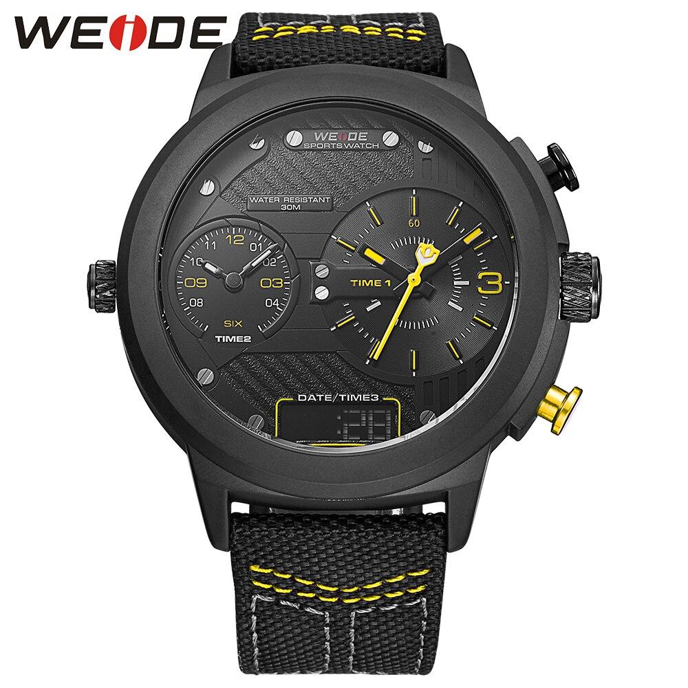 WEIDE luxury brand new watch sport digital Nylon strap Black round large dial LCD men quartz automatic watch waterproof analog<br>