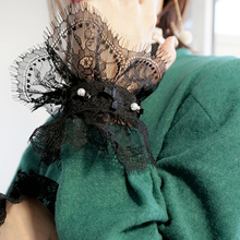 2017 new Mysterious black lace pearl fake sleeves decorated cuffs Lolita mood fake Department Lace chiffon pleated loudspeaker(China)