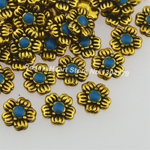 20 pieces metal gold silver flower jewelry nails accessoires suppliestools for 3d nail art decorations rhinestone retro design(China)