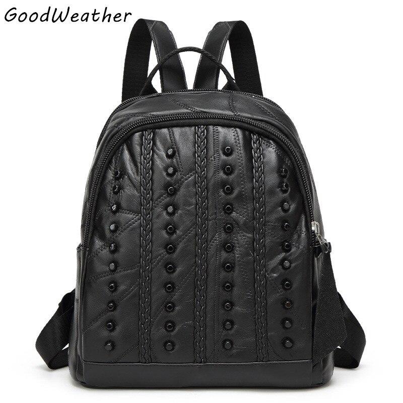 Designer womens genuine leather backpack sheepskin stitching bags fashion black soft zipper ladies big rivet travel backpacks <br>