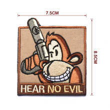 2017 HEAR NO EVIL Tactical Patch 7.5*8.5cm Trunk Monkey Morale Badge Embroidered Decorative Applique Hook & Loop Clothing Patch(China)