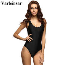 2017 White Red Black Sexy Scoop back Female Swimsuit one piece swimwear women backless monokini pad bathing suit swim wear V128
