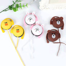 Cute Bear Duck Rabbit Cartoon Stereo Earphone Headphone 3.5mm Ear-hook Sports Headset for Girls Kids Xiaomi Mobile Phone Gifts(China)