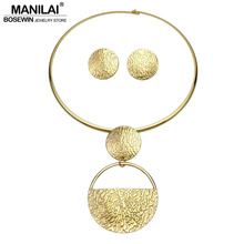 MANILAI Punk Gold-Color Geometric Metal Fashion Jewelry Sets For Women 2017 Choker Necklaces Earrings Set Statement Collier