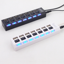 USB 2.0 HUB usb Power Strip 7 ports socket LED Light UP Concentrator with Switch for 4 laptop mouse keyboard charger 20pcs/lot