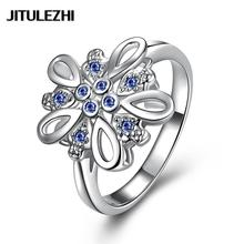 Silver plated wedding ring inlaid stone jewelry anelli donna bijoux women joias factory outlet Jewelry supplier(China)