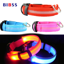 LED Night Flashing Nylon Pet Dog Collar Pink Glowing Luminous Collar for Dogs Cats  Small Large Pet Dog Accessories Supplies