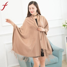 70m*180cm Long Scarf Women Winter Cashmere Blend Pashmina Solid Tassel Shawl Scarves Plaid Pashmina Scarf Blanket Wraps Female