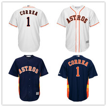 100% Stitched  Men's  #1 Carlos Correa baseball jerseys   Majestic Navy Alternate Cool Base Player Jersey