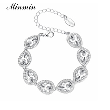 Minmin Silver-color 5 Colors Popular Bracelets with Crystals Bangles Jewelry for Women Gift for Fashion Accesory SL051
