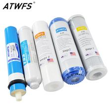 ATWFS 5 Stage Reverse Osmosis RO Water Filters Replacement Set with Water Filter Cartridge 75 GPD Membrane(China)