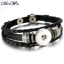 Hot Sale snap leather bracelets Handmade Black Braided Leather snap bracelet 18mm fit 20mm snap jewelry bracelet