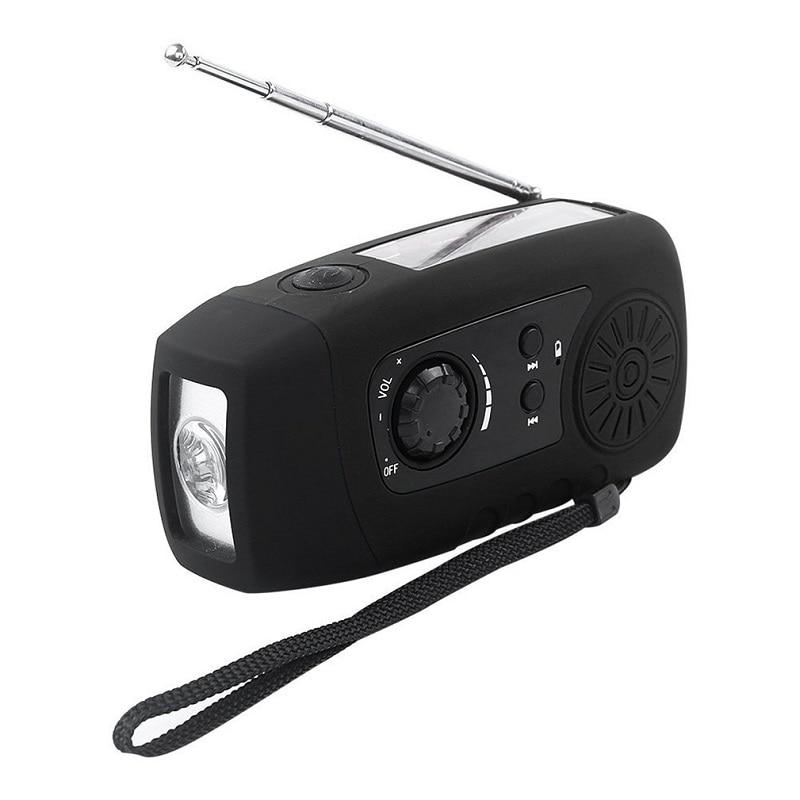 Multi Function Radio FM LED Flashlight Phone Power Bank Hifi Stereo Sound Solar Panel Portable FM Radio Lanyard Antenna Radio