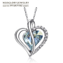 Neoglory Austria Crystal & Rhinestone Long Charm Necklace Romantic Love Heart Style Alloy Plated Trendy Lady Classic Party(China)