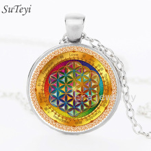 SUTEYI Vintage Statement Necklace Mandala Flower Of Life Buddhism Necklaces Cabochon Glass Bronze Chain Pendant Jewelry
