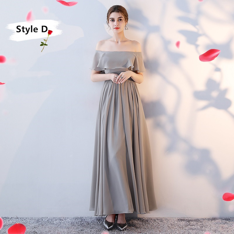 SOCCI Weekend Long Bridesmaid Dresses 2017 Sliver Sleeveless Sister Dress Grey Off shoulder Formal Wedding Party Gowns Robe de 8